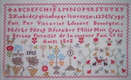 Historic stitches, Victorine Bonnegent 1808, finie