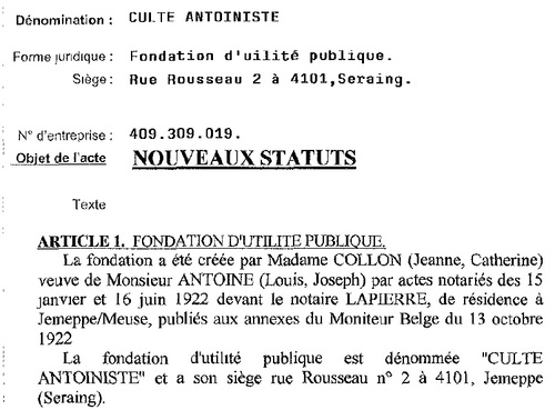Statuts du Culte Antoiniste belge (Moniteur belge, 2005)