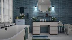 Rénovation de la salle de bain, le carrelage nacré