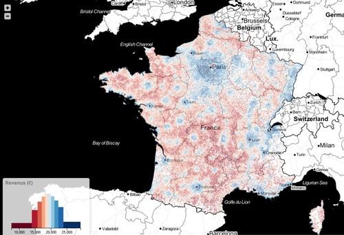 Carte des revenus fiscaux en France
