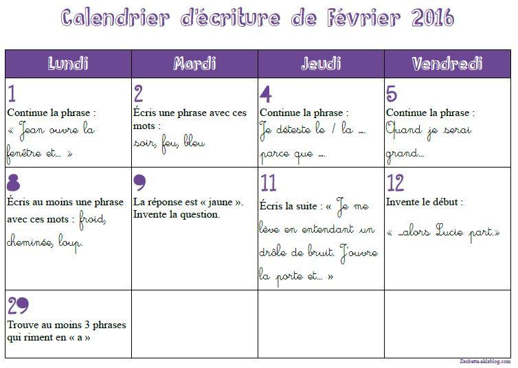 Calendrier d'écriture de février 2016 - CE1