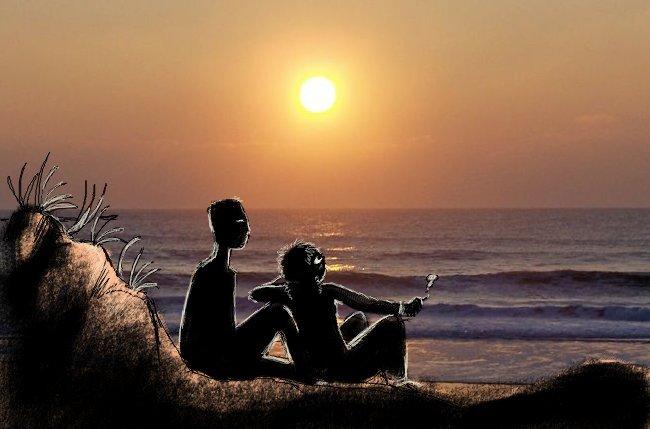 Coucher de soleil en amoureux