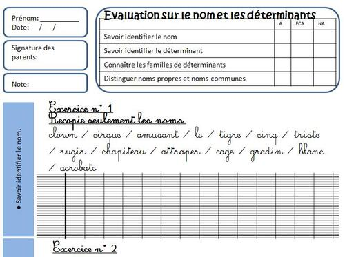 Evaluations de Grammaire