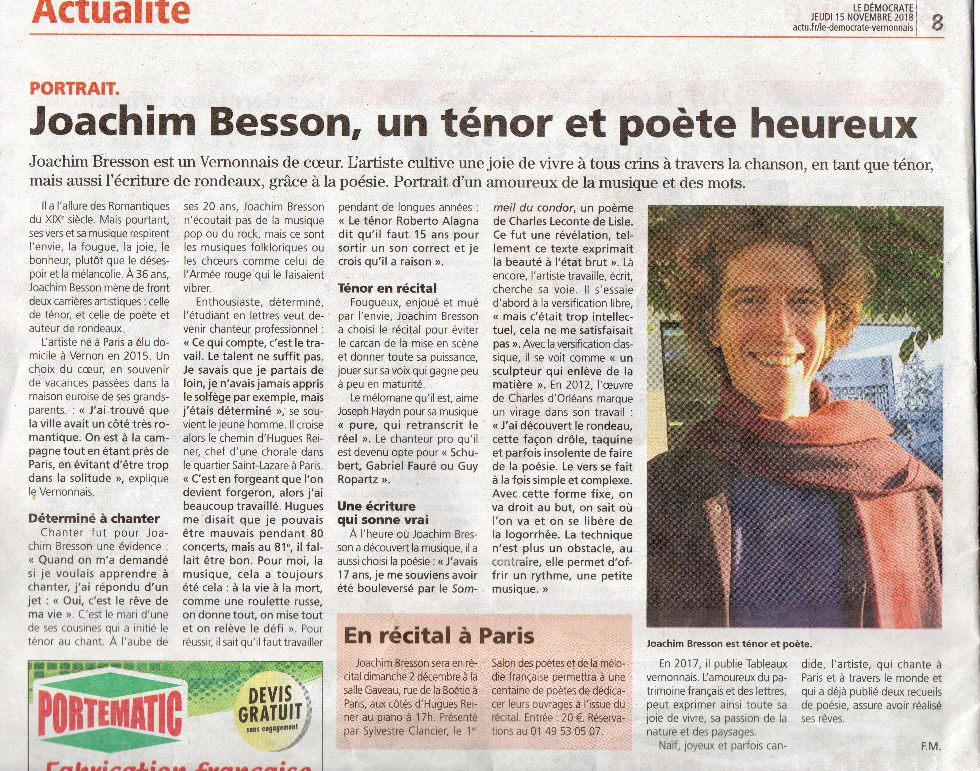 Joachim Bresson, un ténor et poète heureux (Le Démocrate vernonnais)
