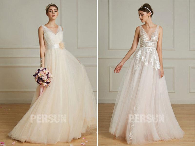 robes de mariée longue col en V pour mariage civil