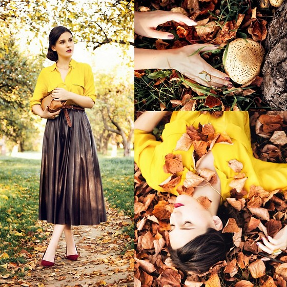 Yana P - Zara Skirt, Zara Shirt, Stradivarius Heels, Asos Necklace, Asos Ring - Never Eat Mushrooms In An Enchanted Forest