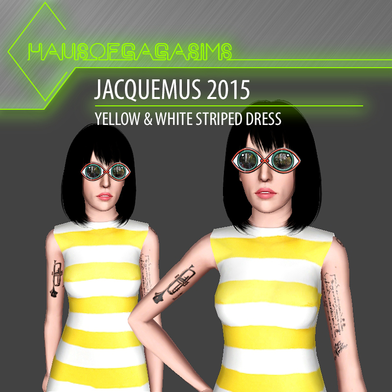 JACQUEMUS 2015 YELLOW & WHITE STRIPED DRESS