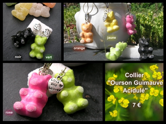 collier ourson guimauve acidulé