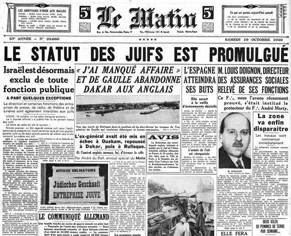 Promulgation de la loi du 3 octobre 1940 du Statut des Juifs (Journal Le Matin, samedi 19 juin 1940).