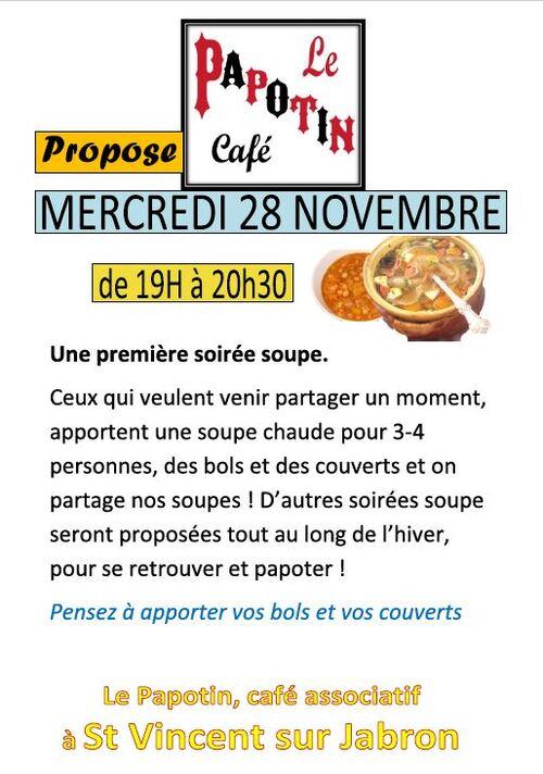 * PREMIERE SOIREE SOUPE AU PAPOTIN apportez une soupe, vos bols et couverts et on partage ,  mercredi 28 novembre de 19h à 20h30.