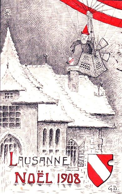 Noël 1908 (Carte postale d'étudiants de l'Université de Lausanne. Illustration de G. D., selon le procédé de thermogravure)