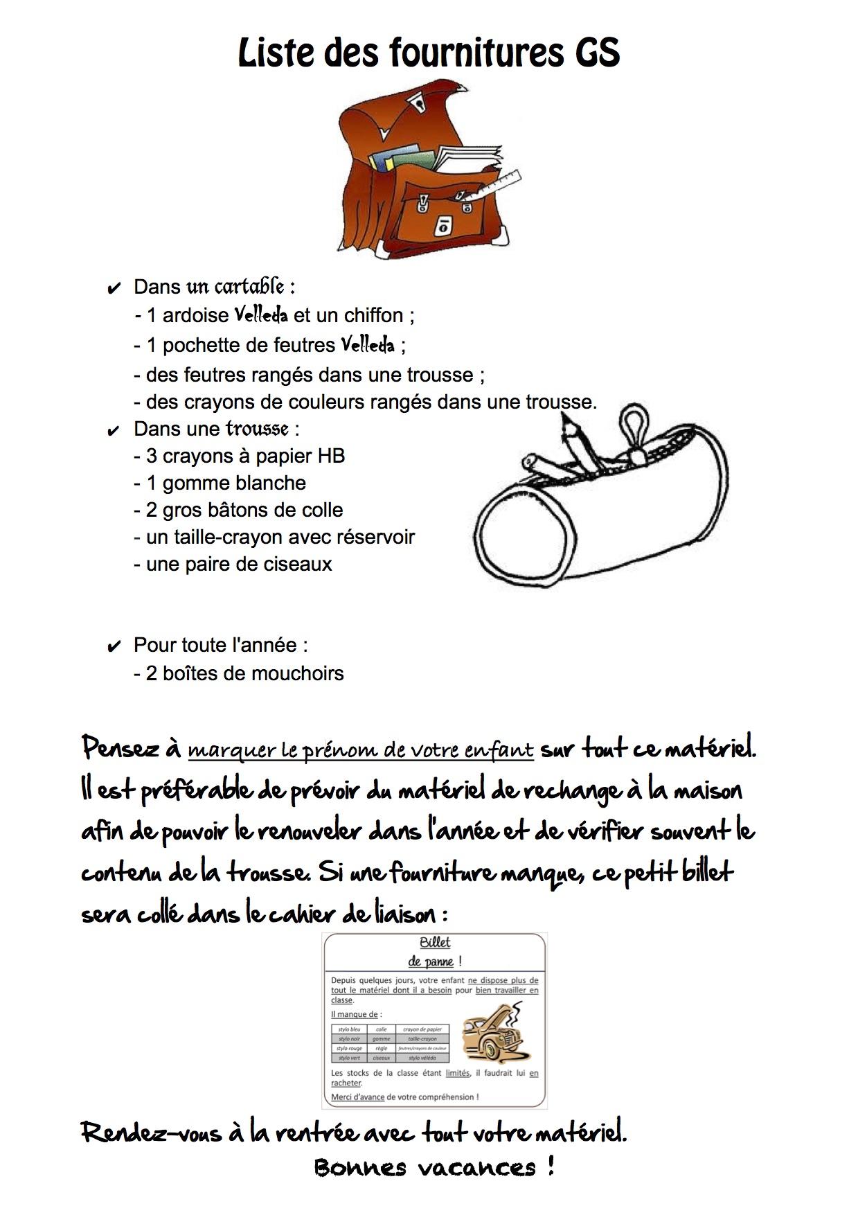 Liste de fournitures gs cp la classe de luccia bloglovin - Liste materiel electrique pour maison ...