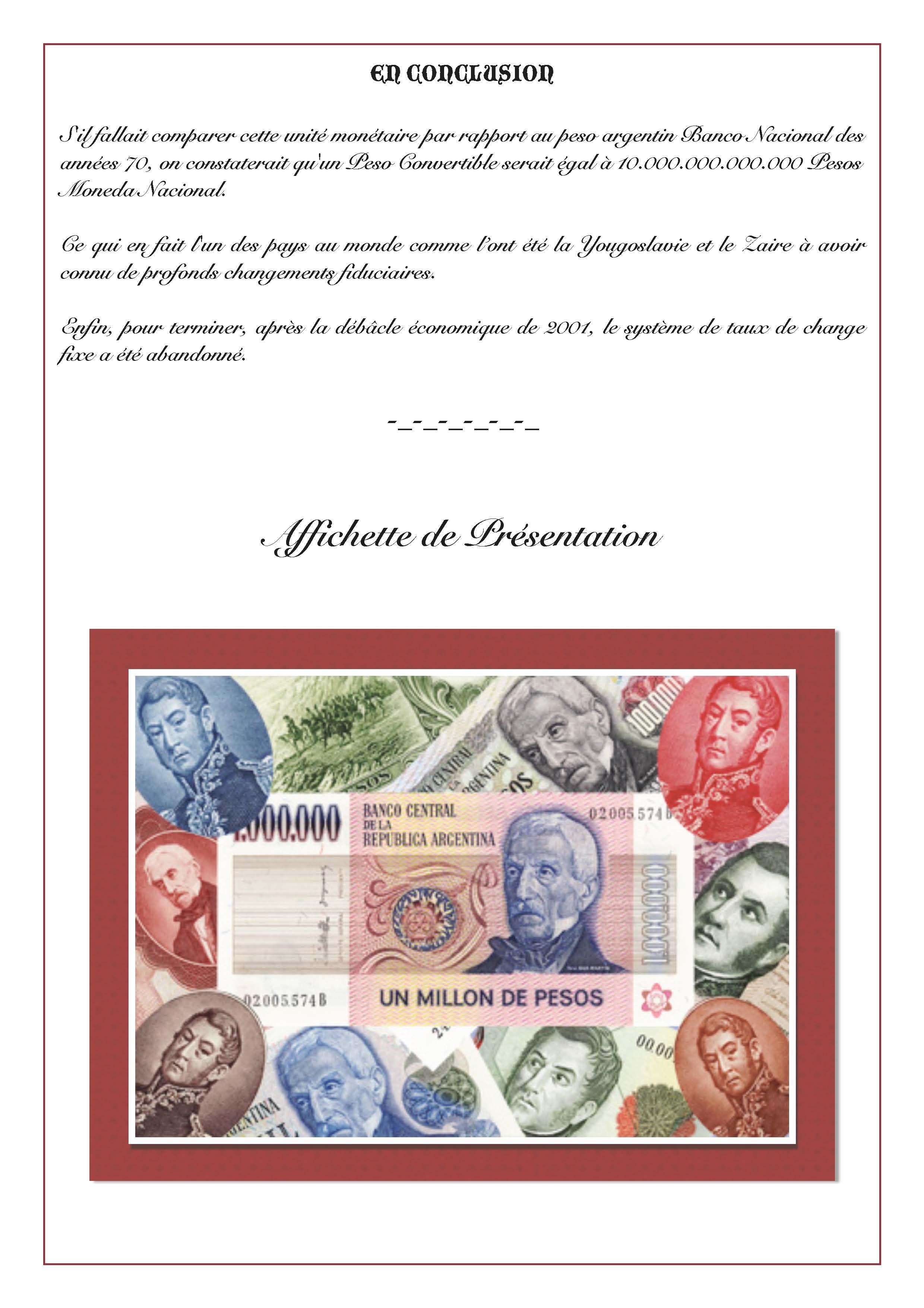 valeur pesos argentin