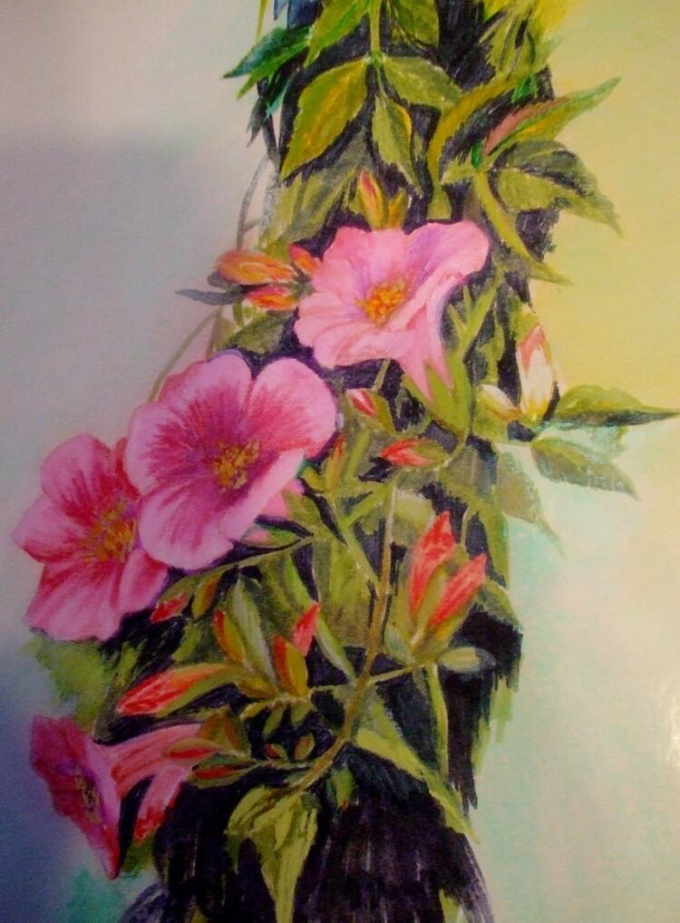 Petunias (crayons pastels et feutres)
