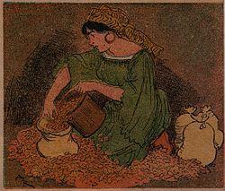 La femme d'Ali-Baba se mit en devoir d'évaluer le tas d'or.