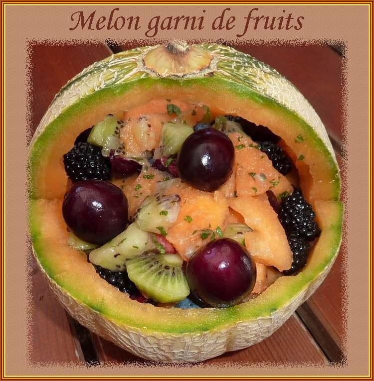 Recette de cuisine : Melon garni de fruits