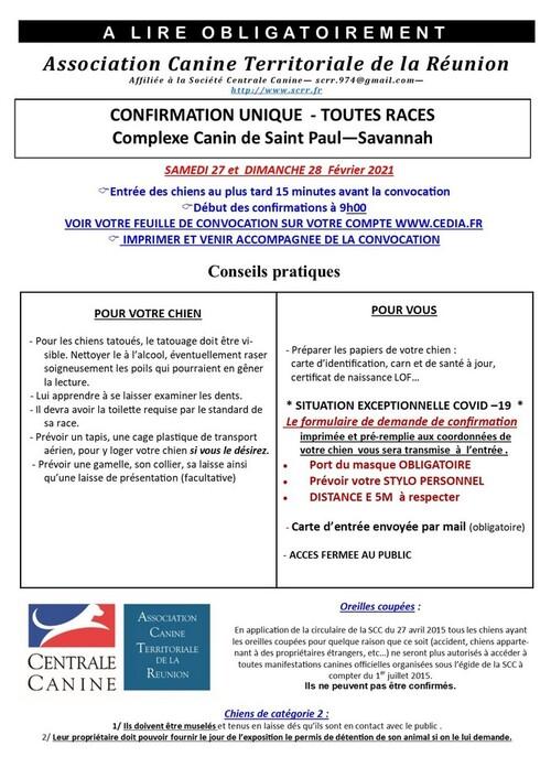 SEANCE DE CONFIRMATION TOUTES RACES