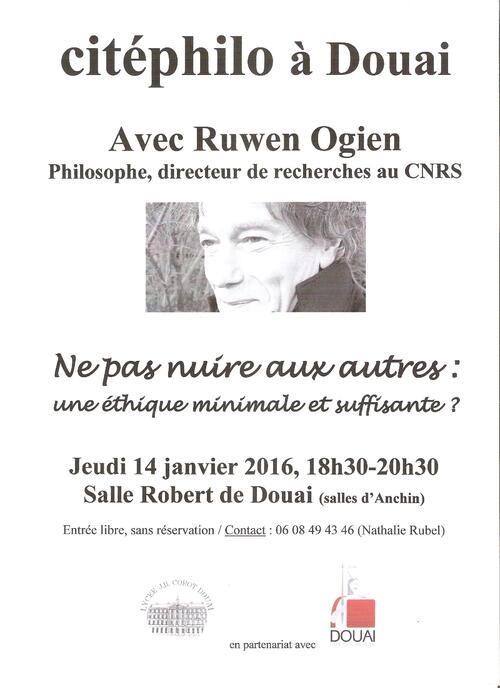 - Conférence de R. Ogien le 14 janvier