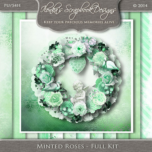 """Minted Roses"" by Ilonka Scrapbook Designs"