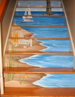 art painting on staircase