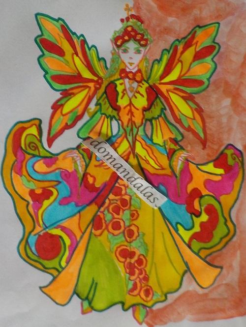 DOMANDALAS  coloriage d'une fée à l'ample robe