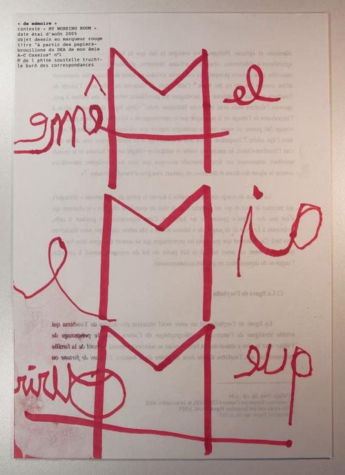 """""""De mémoire"""", dessin au marqueur, © Delphine Soustelle Truchi 2005"""