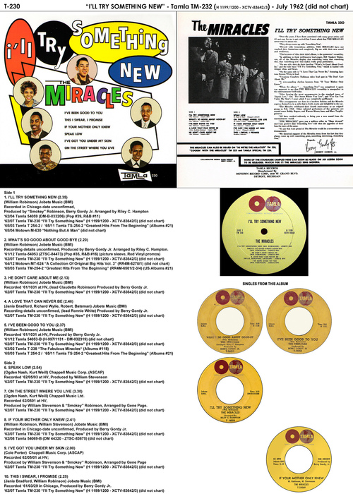 """The Miracles : Album """" I'll Try Something New """" Tamla Records TM 230 [ US ]"""
