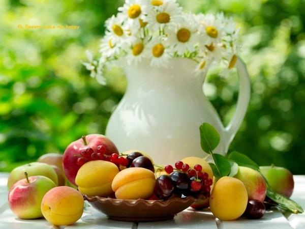 Fruits et fleurs du bonheur à la pelle