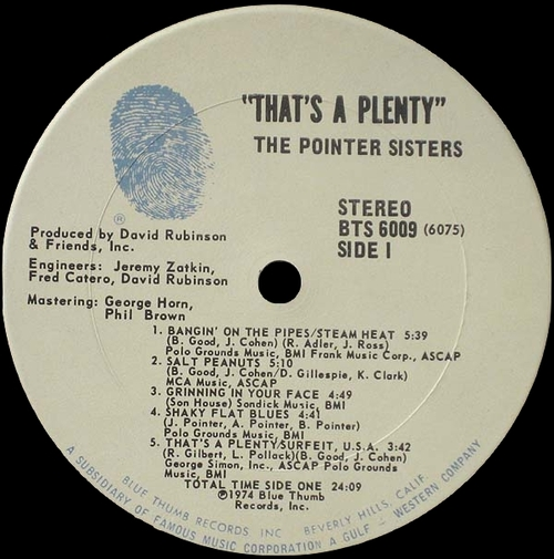 "The Pointer Sisters : Album "" That's A Plenty "" Blue Thumb Records BTS 6009 [ US ]"