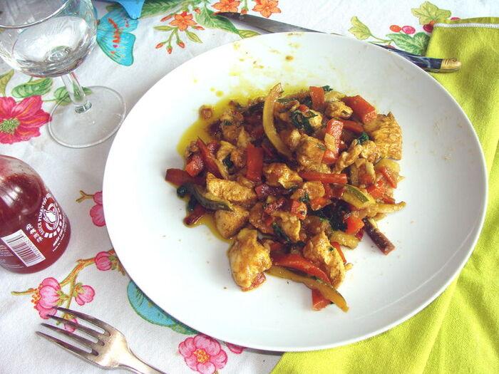 WOK blanc poulet , légumes