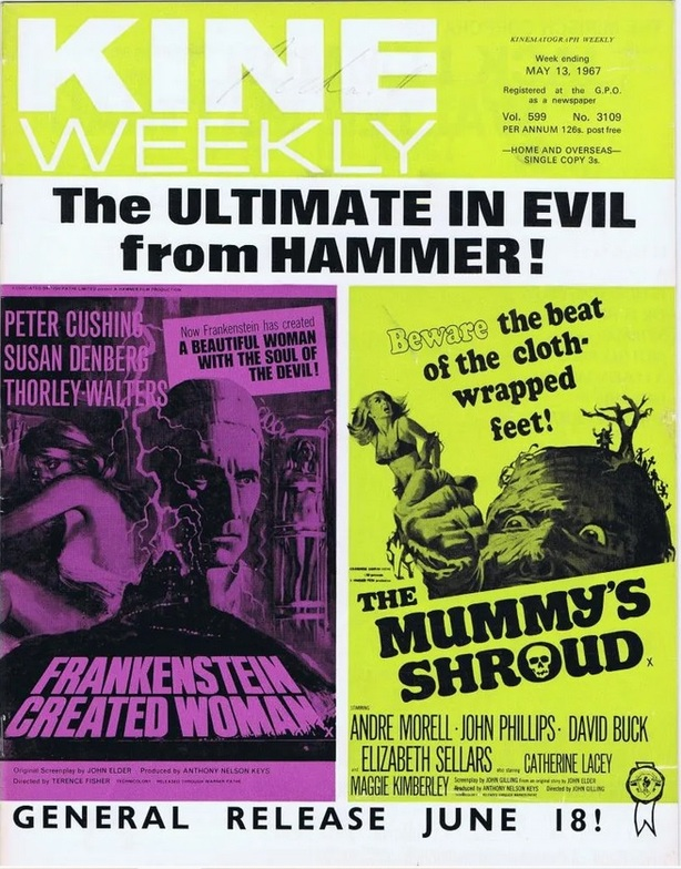 FRANKENSTEIN CREATED WOMAN box office usa 1967