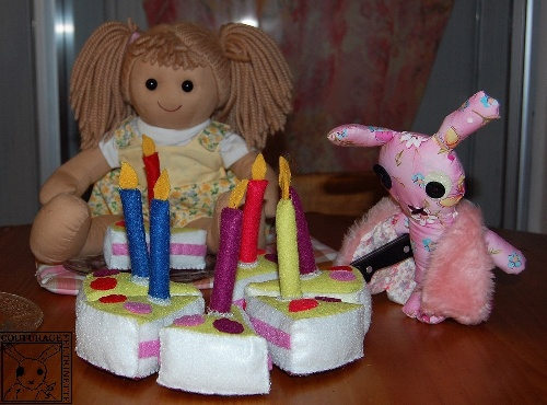 Felt, birthday cake, candles, handicraft
