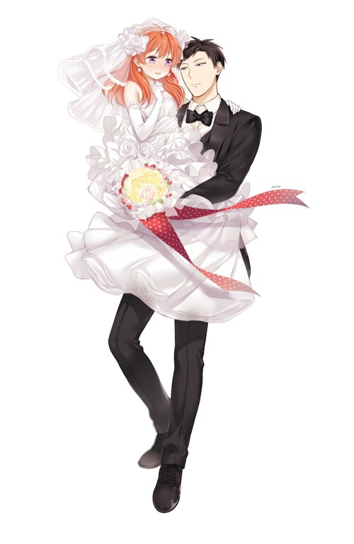 Image de gekkan shoujo nozaki-kun, anime, and wedding
