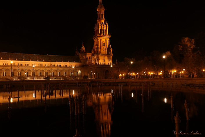 Plaza de Espana by night, Séville