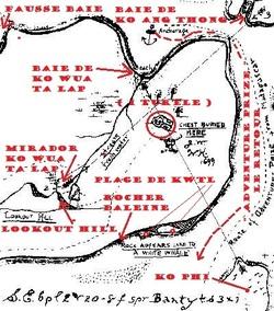 """Le zoom de la partie centrale de la carte du capitaine Kidd, """" The Deadman's Island, JW et WK,1699 """". (Albert Fagioli)"""
