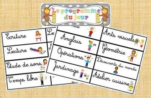 * Organisation: Etiquettes programme du jour