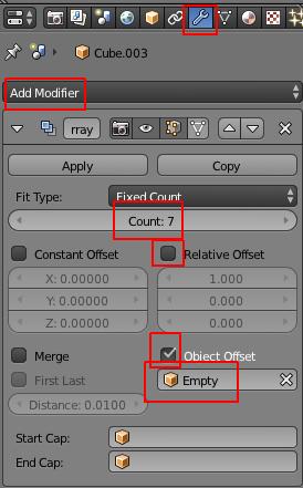Ajustement des paramètres dans le panneau de l'array modifier