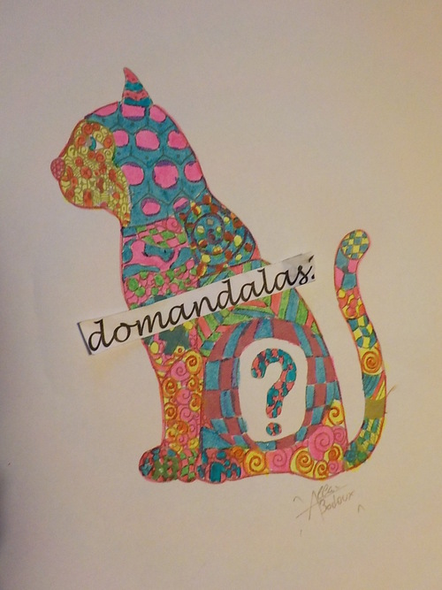 DOMANDALAS  chat façon zentangle