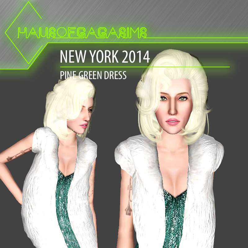 NEW YORK 2014 PINE GREEN CRYSTAL COVERED DRESS