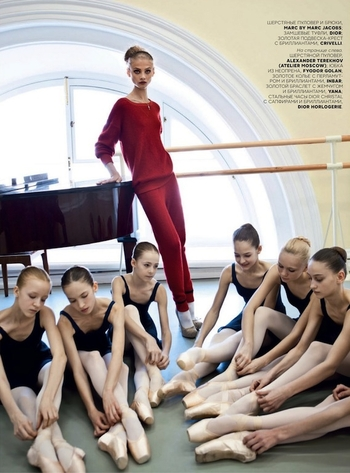 Lady in Red Anna Selezneva by Patrick Demarchelier Vogue Russia October 2012 ballet school 3