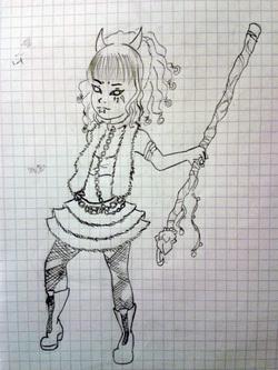 fille celtic punk au crayon