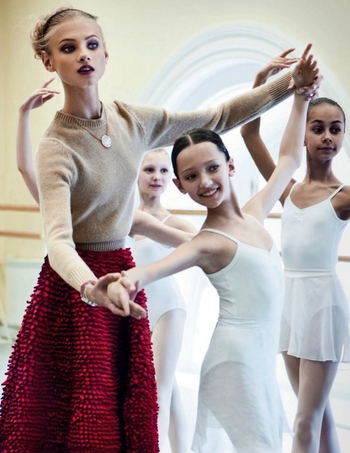 Lady in Red Anna Selezneva by Patrick Demarchelier Vogue Russia October 2012 ballet school 2
