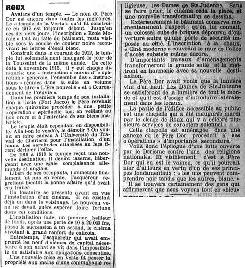 L'école morale devient un cloître (Gazette de Charleroi, 22 septembre 1923)(Belgicapress)