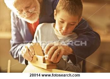 Banques de Photos - grand-père, petit-fils,  confection, bois,  métier, ensemble.  fotosearch - recherchez  des photos, des  images et des  cliparts