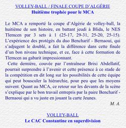 Volley-ball 19.6.2003 à Blida Finale MCA-NES Tlemcen 3-1