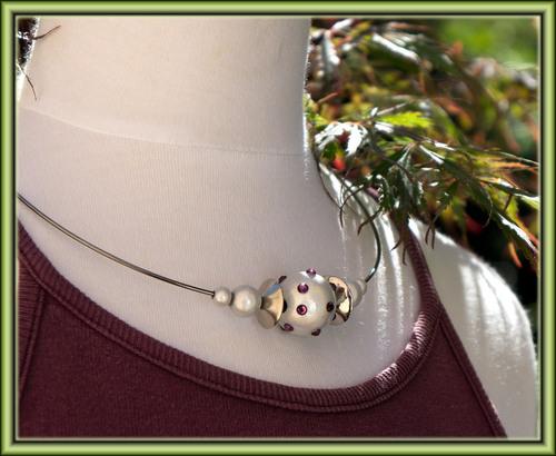 tour de cou en métal, perles magiques, strass
