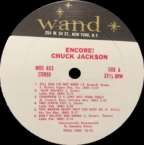 "Chuck Jackson : Album "" Encore ! "" Wand Records LP-655 [ US ]"