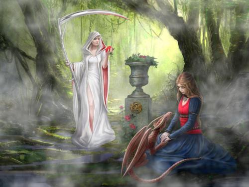 jeune fille et dragon