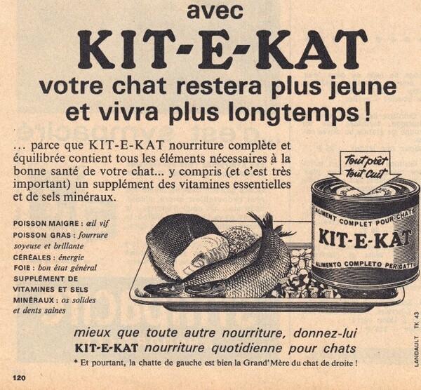 Publicité patée pour chat Kit et Kat