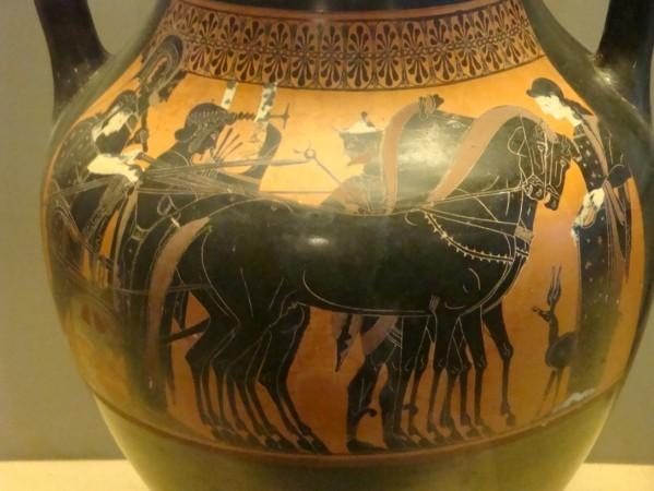Paestum, amphore, détail apothéose d'Héraclès à l'Oly